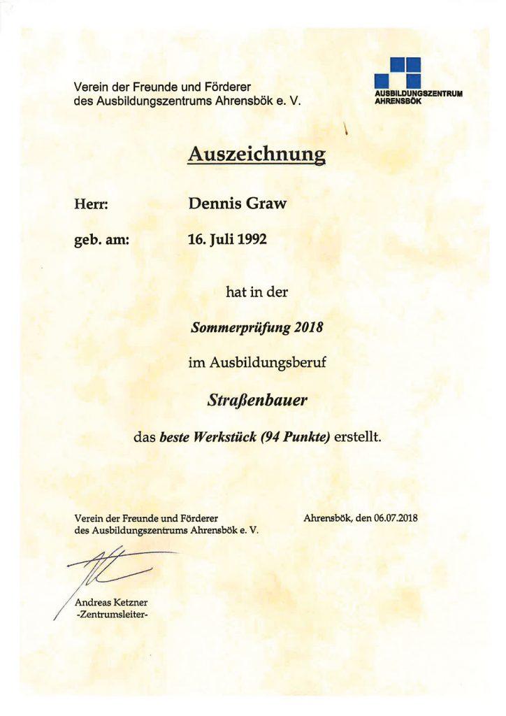 Auszeichnung Dennis Graw, Zingelmann GmbH