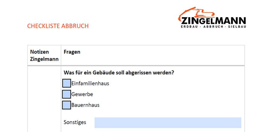 Checkliste Abbruch Zingelmann GmbH