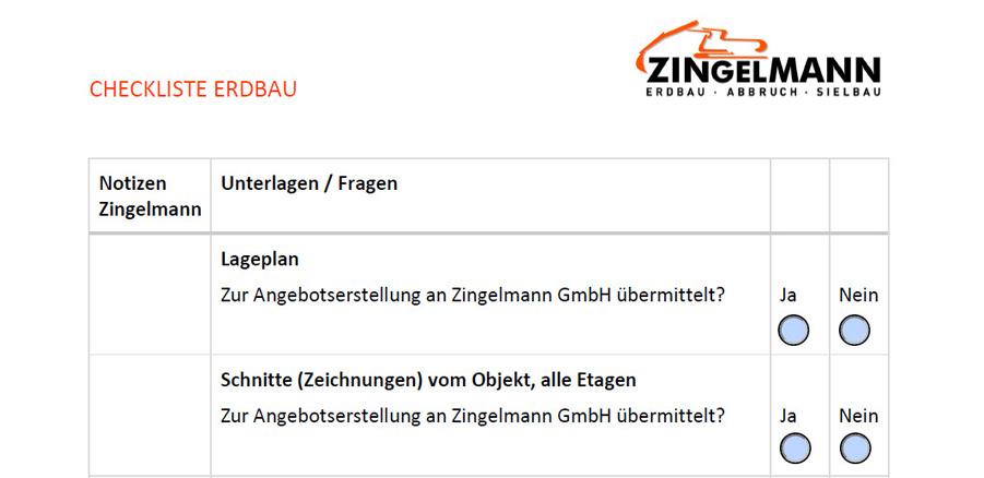 Checkliste Erdbau - Zingelmann GmbH