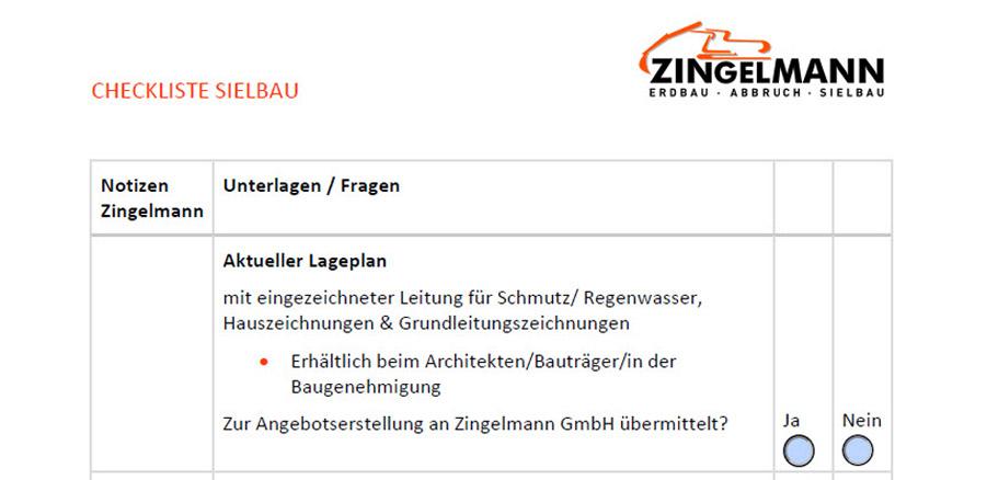 Checkliste Sielbau Vorschau Zingelmann GmbH